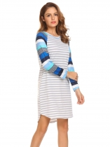 Pattern 2 Women Casual O-Neck Long Sleeve Striped Patchwork Asymmetrical Hem Sexy Dress