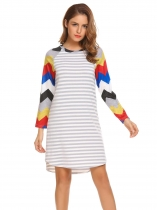 Pattern 3 Women Casual O-Neck Long Sleeve Striped Patchwork Asymmetrical Hem Sexy Dress