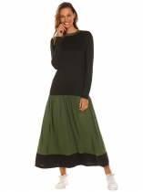 Army green Women Casual Long Sleeve Contrast Color Patchwork Loose Maxi Dress