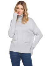Cinza-claro Mulheres Casual Tartaruga Pescoço Long Sleeve Thread Hem and Cuffs Solid Pocket Pullover Sweater