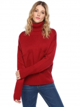 Vinho tinto Mulheres Casual Tartaruga Pescoço Long Sleeve Thread Hem and Cuffs Solid Pocket Pullover Sweater