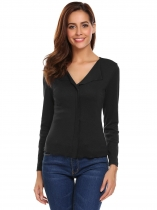 Black Women Lapel Long Sleeve Solid Casual T-Shirt Top