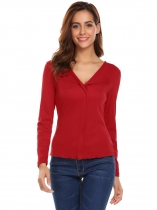 Red Women Lapel Long Sleeve Solid Casual T-Shirt Top