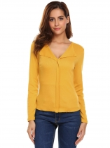 Yellow Women Lapel Long Sleeve Solid Casual T-Shirt Top