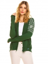 Green Women's Shawl Collar Long Sleeve Geometric Button Front Knit Cardigan Sweater