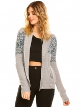 Gray Women's Shawl Collar Long Sleeve Geometric Button Front Knit Cardigan Sweater