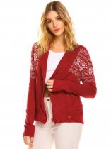 Red Women's Shawl Collar Long Sleeve Geometric Button Front Knit Cardigan Sweater