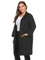 Women Plus Size Casual Stand Neck Solid Button Lightweight Jacket