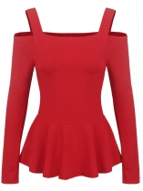 Red Women Casual Spaghetti Straps Long Sleeve Cold the Shoulder A-Line Pleated Casual Top