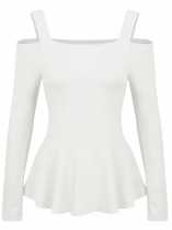 White Women Casual Spaghetti Straps Long Sleeve Cold the Shoulder A-Line Pleated Casual Top