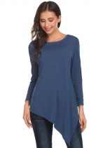 Dark blue Women Round Neck Long Sleeve Split Asymmetrical Hem Casual Loose Sweater