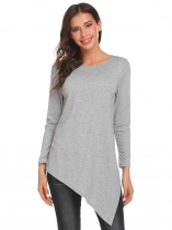 Gray Women Round Neck Long Sleeve Split Asymmetrical Hem Casual Loose Sweater