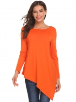 Orange Women Round Neck Long Sleeve Split Asymmetrical Hem Casual Loose Sweater