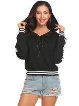 Black Women Casual Lace-Up Long Sleeve Patchwork Pullover Hoodie