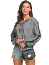 Grey Women Casual Lace-Up Long Sleeve Patchwork Pullover Hoodie