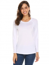 White Women Casual Round Neck Raglan Long Sleeve Solid Loose Blouse Tops