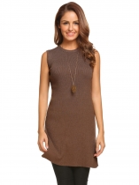 Dark brown Women Casual O-Neck Sleeveless Solid Pullover Knit Rib Side Slit Sweater Vest