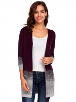 Purple Red Women Casual Long Sleeve Open Front Contrast Color Knitwear Cardigan