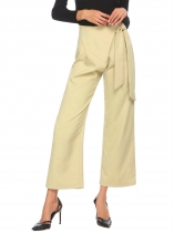 Olive Green Women Wide Leg Tie Up Wrap Loose Casual Office Pants