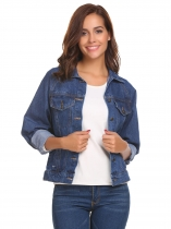 Navy blue Women's Classic Turn Down Collar Short Casual Button Denim Jacket