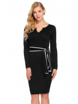 Black Women Notch Neck Long Sleeve Bodycon Business Casual Dress