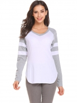 Light gray V-Neck Long Sleeve Asymmetrical Hem Sexy Blouse T-shirt