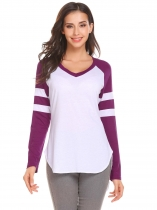 Dark purple V-Neck Long Sleeve Asymmetrical Hem Sexy Blouse T-shirt