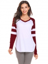 Wine red V-Neck Long Sleeve Asymmetrical Hem Sexy Blouse T-shirt