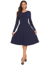 Navy blue Women Casual V Neck Long Sleeve Pleated Swing Dress Solid High Waist
