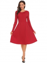 Red Women Casual V Neck Long Sleeve Pleated Swing Dress Solid High Waist