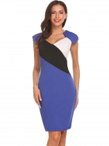 Royal Blue Women V Neck Raglan Cap Sleeve Pencil Slim Dress Contrast Color