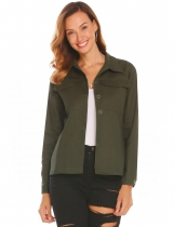 Army green Women Casual Turn-down Collar Long Sleeve Solid Button Pocket Sexy Shirt Blouse