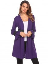 Purple Women Flare Sleeve Open Front Hollow Lace Patchwork Casual Cardigan