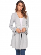 Light gray Women Flare Sleeve Open Front Hollow Lace Patchwork Casual Cardigan