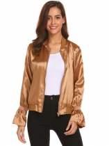 Brown Women Casual Solid Flare Sleeve Zip Up Bomber Jacket Outwear