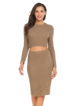 Coffee Women O-Neck Cut Out Solid Slim Fit Casual Pullover Sweater Pencil Dress