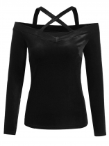 Black Women Casual Crossing Straps Cold the Shoulder Slim Fit Solid Sexy Blouse Casual Tops