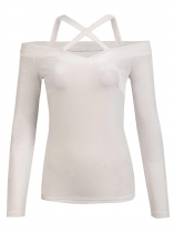 White Women Casual Crossing Straps Cold the Shoulder Slim Fit Solid Sexy Blouse Casual Tops
