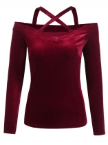 Wine red Women Casual Crossing Straps Cold the Shoulder Slim Fit Solid Sexy Blouse Casual Tops