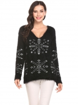 Black Women Soft V-Neck Batwing Sleeve Snowflake Casual Pullover Sweater