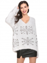 White Women Soft V-Neck Batwing Sleeve Snowflake Casual Pullover Sweater