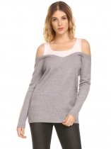Light gray Women Casual Cold Shoulder Long Sleeve Pullover Knit Sweater Contrast Color