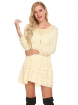 Béžová Women Lantern Sleeve Layered Hem Lace Chiffon Casual Loose Fit Mini Dress