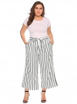 White stripe Women High Waist Belted Striped/ Solid Wide Leg Casual Pants Plus Size