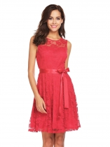 Red Women Sleeveless Floral Lace Fit and Flare Bridesmaid Dress
