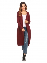 Dark red Drop-Shoulder Open Front Casual Long Hooded Cardigan