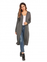 Gray Drop-Shoulder Open Front Casual Long Hooded Cardigan