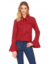 Vin rouge Femmes Tie Bow Neck Flare manches solides Casual Loose Fit Blouse Top