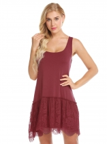 Wine red Women Casual Lace Splicing Sleeveless Round Neck Tank T-Shirt Dress