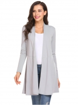 Gray Mulheres Casual Frente Aberto Manga Longa Solid Loose Sexy Cardigan with Belt
